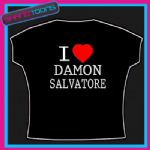 I LOVE HEART DAMON SALVATORE VAMPIRE DIARIES TSHIRT